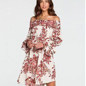 Miss Me Kisses Off The Shoulder Dress Cream Red